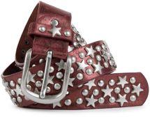 styleBREAKER Nietengürtel mit Sterne und Rundnieten im Vintage Style , kürzbar 03010030 – Bild 4