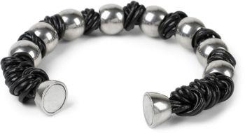 styleBREAKER Armband mit Edelstahl Kugeln und geflochtenen Bändern mit Magnetverschluss, Armschmuck, Unisex 05040174 – Bild 2