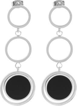 styleBREAKER Damen zweifarbige runde Edelstahl Ohrringe mit Ring Anhängern und Stecker, Ohrhänger, Ohrschmuck 05090017 – Bild 7