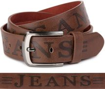 styleBREAKER jeans belt with JEANs embossing and genuine leather, shortened 03010038 – Bild 1