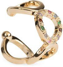 styleBREAKER Damen breiter Ear Cuff Klemm Ohrring mit Ringen und Strass, Ohrstecker, Ohrclip, Fake Piercing, Helix 05090021 – Bild 1
