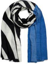 styleBREAKER Damen Schal mit Zebra Muster und farbigem Streifen mit Fransen, Winter, Stola, Tuch 01017112 – Bild 7