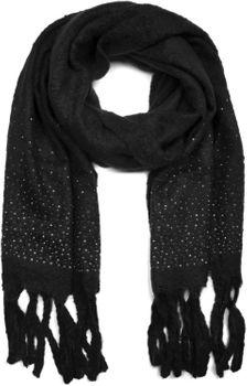 styleBREAKER Damen unifarbener Schal mit Strass und langen dicken Fransen, Glitzersteine, Winter, Stola 01017119 – Bild 3