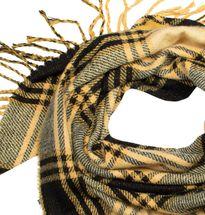 styleBREAKER Damen XXL Strick Dreiecksschal mit Glencheck Karo Muster, Fransen, Winter Schal, Tuch 01018160 – Bild 2