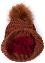 styleBREAKER Damen Strick Bommelmütze mit Rippenstrick Muster und Fleece Futter, Winter Fellbommel Mütze 04024167 – Bild 5