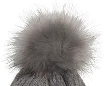 styleBREAKER Damen Strick Bommelmütze mit Rippenstrick Muster und Fleece Futter, Winter Fellbommel Mütze 04024167 – Bild 6