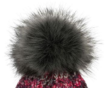 styleBREAKER Damen bunte Strick Bommelmütze mit Fleece Futter, Winter Fellbommel Mütze 04024169 – Bild 8