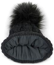 styleBREAKER Unisex warme Strick Bommelmütze mit Flecht Muster und Fleece Futter, Winter Fellbommel Mütze 04024171 – Bild 7