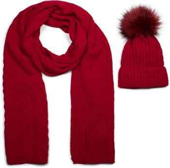 styleBREAKER Unisex Strick Schal und Mütze Set mit Flecht Muster, Thermo-Fleece Innenfutter, Winter 01018212 – Bild 13