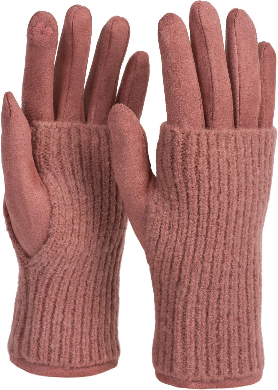 Winter 09010021 styleBREAKER Unisex Touchscreen Strick Handschuhe mit Karo Strickmuster Fingerhandschuhe warme Strickhandschuhe