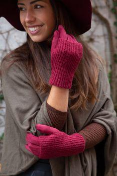 styleBREAKER Damen Touchscreen Stoff Handschuhe mit abnehmbaren Strick Stulpen, warme Fingerhandschuhe, Winter 09010022