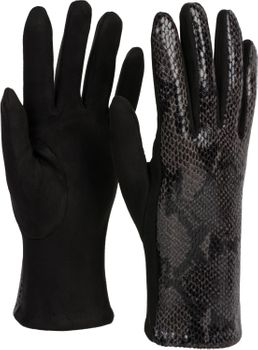 styleBREAKER Damen Handschuhe mit Oberseite in glänzender Schlangenleder Optik und Fleece Futter, Fingerhandschuhe, Winter 09010023 – Bild 11