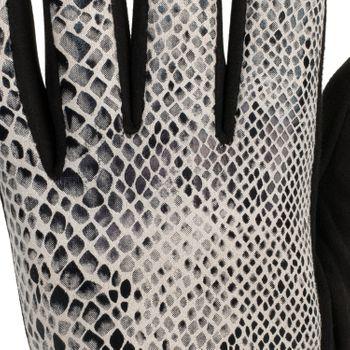 styleBREAKER Damen Handschuhe mit Oberseite in glänzender Schlangenleder Optik und Fleece Futter, Fingerhandschuhe, Winter 09010023 – Bild 9