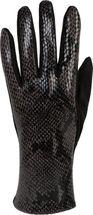 styleBREAKER Damen Handschuhe mit Oberseite in glänzender Schlangenleder Optik und Fleece Futter, Fingerhandschuhe, Winter 09010023 – Bild 12