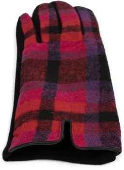 styleBREAKER Damen Touchscreen Handschuhe mit Oberseite in Karo Optik und Fleece Futter, Fingerhandschuhe, Winter 09010025 – Bild 4