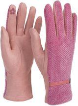 styleBREAKER Damen Touchscreen Handschuhe mit Waben Muster und Fleece Futter, warme Thermo Fingerhandschuhe, Winter 09010026 – Bild 1