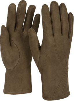 styleBREAKER Damen Unifarbene Stoff Handschuhe mit Ziernähten und Fleece Futter, Fingerhandschuhe, Winter 09010027 – Bild 29