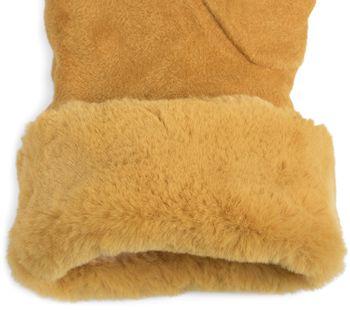 styleBREAKER Damen Unifarbene Touchscreen Stoff Handschuhe mit Fleece Futter und Ziernähten, Fingerhandschuhe, Winter 09010028 – Bild 4