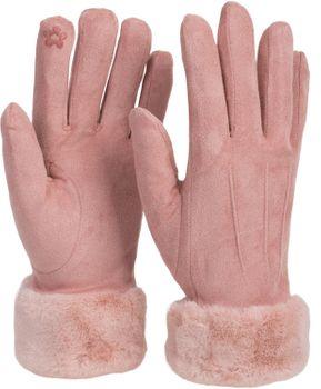 styleBREAKER Damen Unifarbene Stoff Handschuhe mit Fell Innenfutter und Ziernähten, Fingerhandschuhe, Winter 09010028 – Bild 16