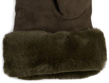 styleBREAKER Damen Unifarbene Touchscreen Stoff Handschuhe mit Fleece Futter und Ziernähten, warme Thermo Fingerhandschuhe, Winter 09010028 – Bild 24