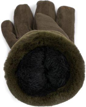 styleBREAKER Damen Unifarbene Stoff Handschuhe mit Fell Innenfutter und Ziernähten, Fingerhandschuhe, Winter 09010028 – Bild 25