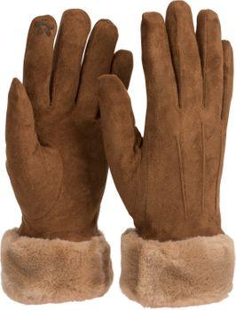styleBREAKER Damen Unifarbene Stoff Handschuhe mit Fell Innenfutter und Ziernähten, Fingerhandschuhe, Winter 09010028 – Bild 6