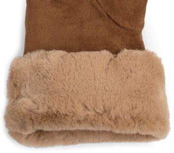 styleBREAKER Damen Unifarbene Touchscreen Stoff Handschuhe mit Fleece Futter und Ziernähten, warme Thermo Fingerhandschuhe, Winter 09010028 – Bild 9