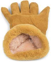 styleBREAKER Damen Unifarbene Stoff Handschuhe mit Fell Innenfutter und Ziernähten, Fingerhandschuhe, Winter 09010028 – Bild 5