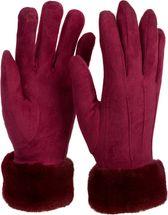 styleBREAKER Damen Unifarbene Touchscreen Stoff Handschuhe mit Fleece Futter und Ziernähten, warme Thermo Fingerhandschuhe, Winter 09010028 – Bild 26