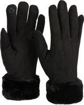 styleBREAKER Damen Unifarbene Touchscreen Stoff Handschuhe mit Fleece Futter und Ziernähten, warme Thermo Fingerhandschuhe, Winter 09010028 – Bild 31