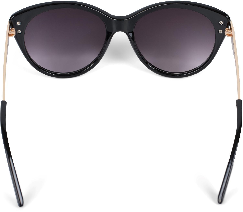 Damen Metall Bügel Polycarbonat Sonnenbrille mit Katzenaugen Cat Eye Gläsern