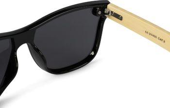 styleBREAKER Unisex Monoglas Nerd Sonnenbrille mit Bambus Bügeln und Polycarbonat Glas, Retro Style 09020112 – Bild 11