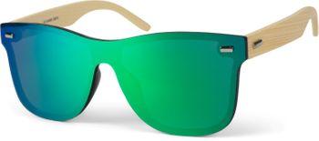 styleBREAKER Unisex Monoglas Nerd Sonnenbrille mit Bambus Bügeln und Polycarbonat Glas, Retro Style 09020112 – Bild 3