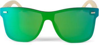 styleBREAKER Unisex Monoglas Nerd Sonnenbrille mit Bambus Bügeln und Polycarbonat Glas, Retro Style 09020112 – Bild 4