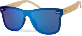 styleBREAKER Unisex Monoglas Nerd Sonnenbrille mit Bambus Bügeln und Polycarbonat Glas, Retro Style 09020112 – Bild 5