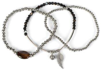 styleBREAKER Damen Edelstahl Perlen Armband 3er Set mit Flügel Charm und Schmuckstein, Gummizug, Armschmuck 05040177 – Bild 2
