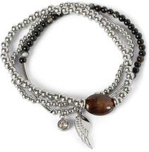 styleBREAKER Damen Edelstahl Perlen Armband 3er Set mit Flügel Charm und Schmuckstein, Gummizug, Armschmuck 05040177 – Bild 1