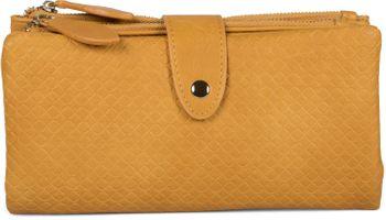 styleBREAKER Damen Portemonnaie mit Quadraten geprägter Oberfläche, Druckknopf, Reißverschluss Geldbörse, Retro Look 02040132 – Bild 7