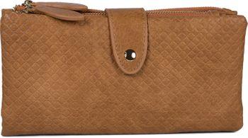 styleBREAKER Damen Portemonnaie mit Quadraten geprägter Oberfläche, Druckknopf, Reißverschluss Geldbörse, Retro Look 02040132 – Bild 9
