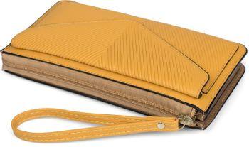 styleBREAKER Damen Portemonnaie mit Handyfach im Envelope Style mit V-förmiger Prägung, Reißverschluss, Geldbörse 02040133 – Bild 6
