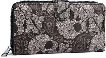 styleBREAKER Damen Geldbörse mit Totenkopf Paisley Print, Reißverschluss und Druckknopf, Portemonnaie 02040135 – Bild 1