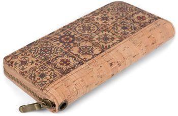 styleBREAKER Damen Geldbörse aus Kork mit buntem Muster Print im Ethno Look, Reißverschluss, Portemonnaie 02040138 – Bild 2