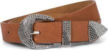 styleBREAKER Damen Gürtel Unifarben mit Strass verzierter Schließe, kürzbar 03010107 – Bild 6