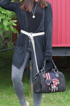 styleBREAKER Damen Taillengürtel mit Kugelnieten und Ringschnalle, Einheitsgröße / Onesize, Vintage Style, Nietengürtel 03010111 – Bild 13