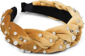 styleBREAKER Damen Haarreif in Samt Optik geflochten mit Perlen, Retro Style Haarband, Headband 04027010 – Bild 1