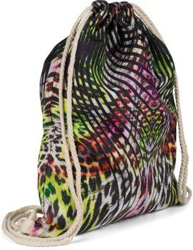 styleBREAKER Damen Turnbeutel mit tropischem Dschungel Leo Print im Boho Style, Rucksack, Sportbeutel, Beutel 02012338 – Bild 2
