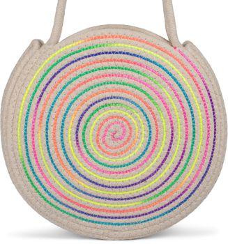 styleBREAKER Damen Runde Bali Bag Umhängetasche mit buntem Neonfaden und geflochtenem Taschengurt, Henkeltasche 02012341