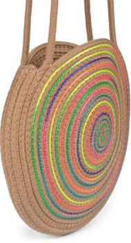 styleBREAKER Damen Runde Bali Bag Umhängetasche mit buntem Neonfaden und geflochtenem Taschengurt, Henkeltasche 02012341 – Bild 3