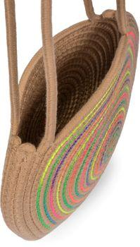 styleBREAKER Damen Runde Bali Bag Umhängetasche mit buntem Neonfaden und geflochtenem Taschengurt, Henkeltasche 02012341 – Bild 4