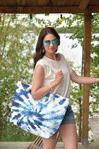 styleBREAKER Damen XXL Strandtasche mit Batik Wirbel Muster Print, Reißverschluss, Schultertasche, Shopper 02012344 – Bild 5